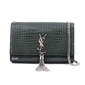 New Saint Laurent Medium Croc Kate Tassel Bag
